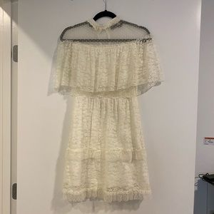 White Topshop Floral Lace Dress